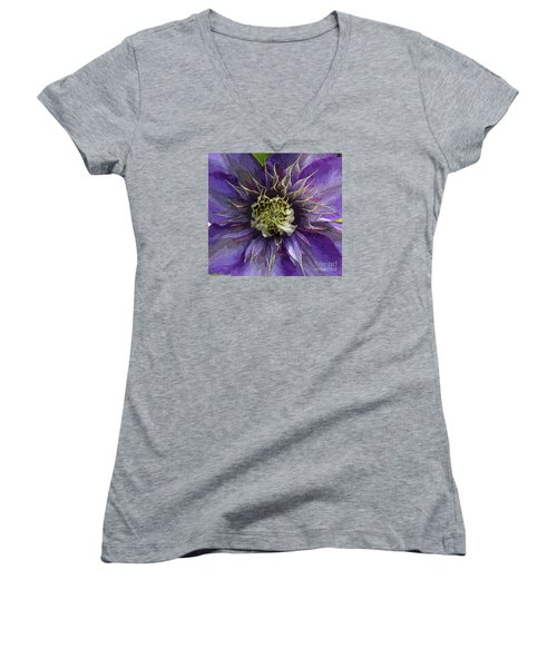 Women's V-Neck T-Shirt (Junior Cut) featuring the photograph Crystal Fountain by Jeanette French