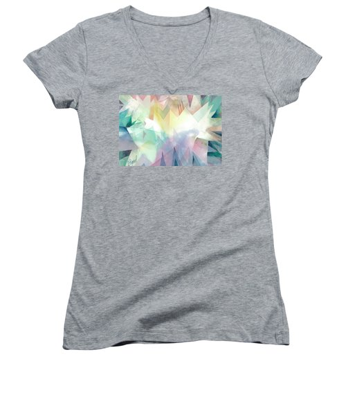 Women's V-Neck featuring the painting Crystal Garden by Carolyn Utigard Thomas