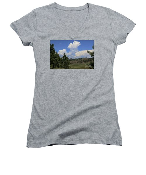Crystal Peak Colorado Women's V-Neck T-Shirt (Junior Cut) by Jeanette French