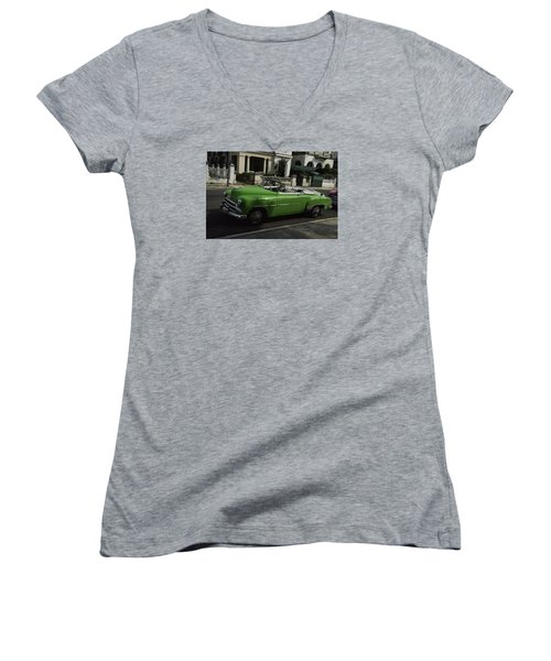 Cuba Car 3 Women's V-Neck T-Shirt (Junior Cut) by Will Burlingham