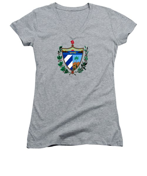 Women's V-Neck T-Shirt (Junior Cut) featuring the drawing Cuba Coat Of Arms by Movie Poster Prints