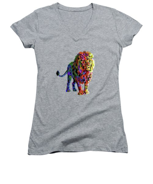 Geometrical Lion King Women's V-Neck T-Shirt (Junior Cut) by Anthony Mwangi