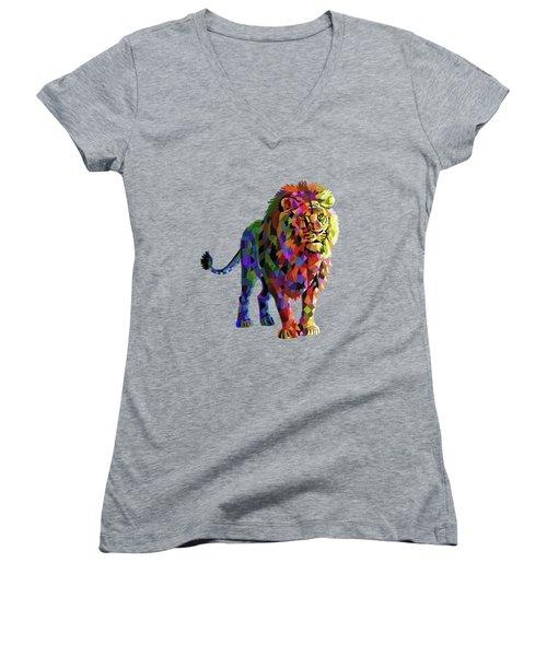 Geometrical Lion King Women's V-Neck T-Shirt
