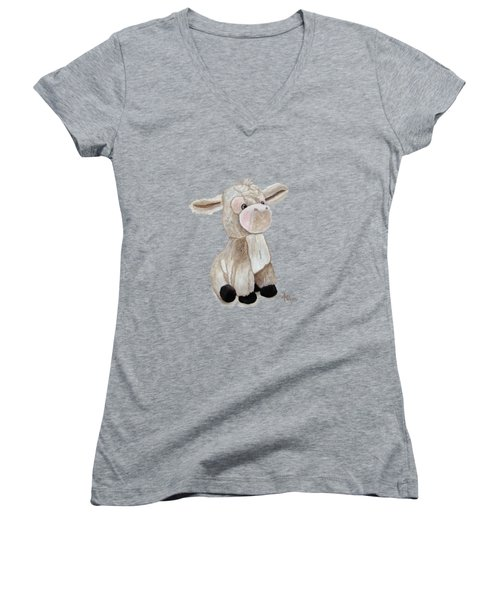 Cuddly Donkey Watercolor Women's V-Neck (Athletic Fit)