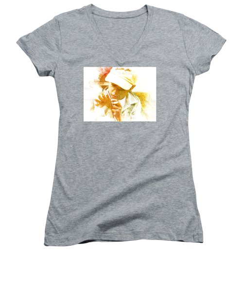 Women's V-Neck T-Shirt (Junior Cut) featuring the photograph Cuenca Kid 902 - Adinea by Al Bourassa