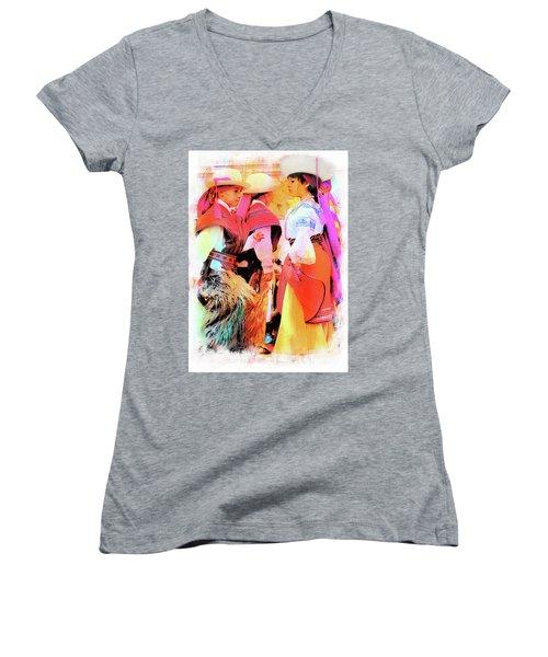 Women's V-Neck T-Shirt (Junior Cut) featuring the photograph Cuenca Kids 884 by Al Bourassa