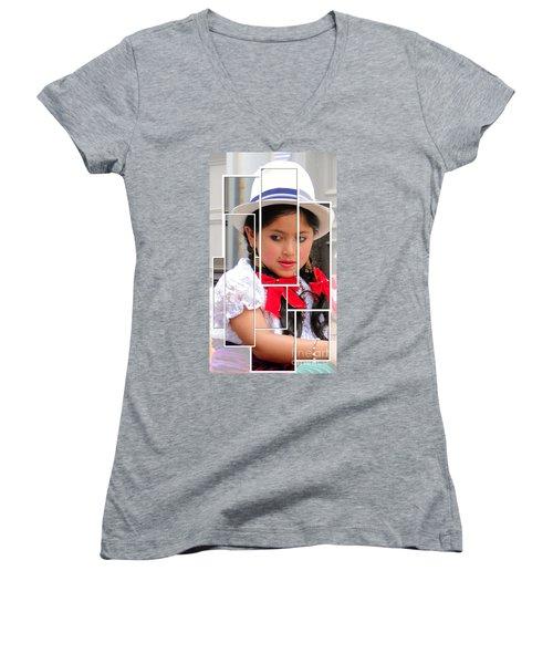 Women's V-Neck T-Shirt (Junior Cut) featuring the photograph Cuenca Kids 890 by Al Bourassa