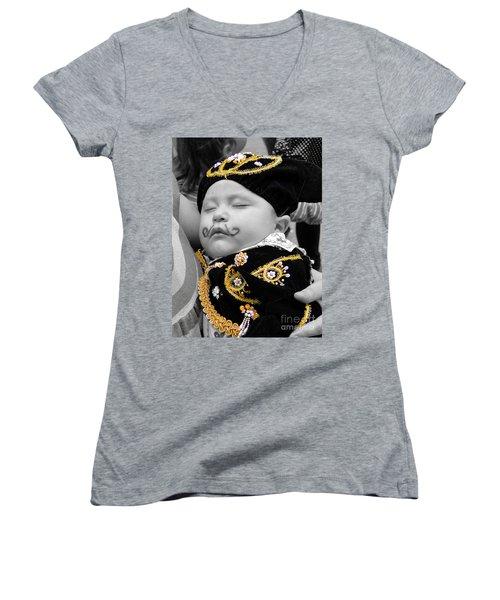 Women's V-Neck T-Shirt (Junior Cut) featuring the photograph Cuenca Kids 891 by Al Bourassa