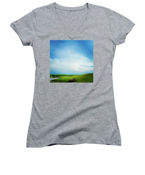Cultivating Green And Blue Landscape Women's V-Neck (Athletic Fit)
