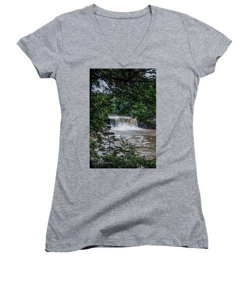 Women's V-Neck T-Shirt (Junior Cut) featuring the photograph Cumberland Falls by Joann Copeland-Paul