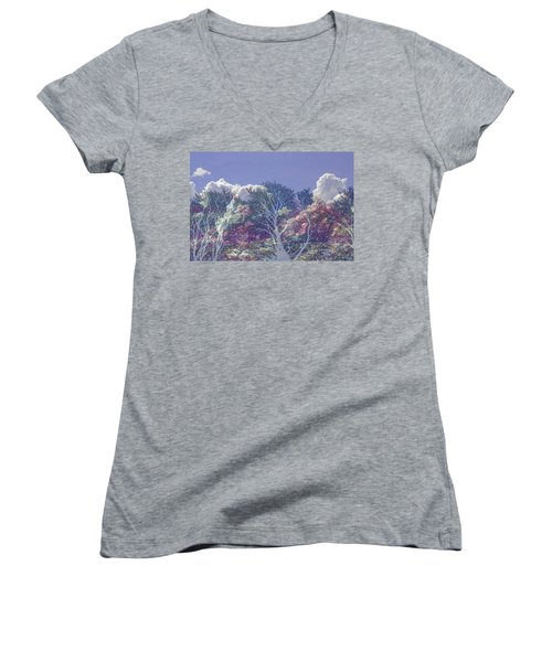 Women's V-Neck T-Shirt featuring the photograph Cumulus And Trees by Nareeta Martin