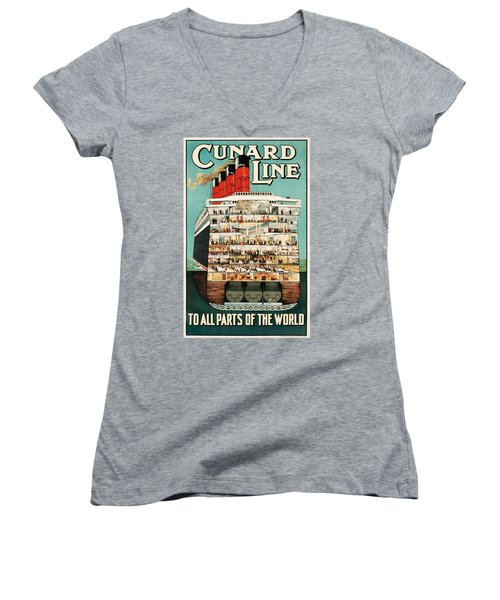 Cunard Liner Poster Women's V-Neck