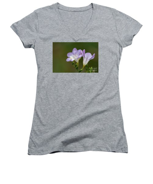 Cupertino Lavender Freesias Women's V-Neck (Athletic Fit)