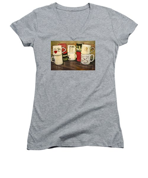 Women's V-Neck T-Shirt (Junior Cut) featuring the painting Cups Of Memory by Ron Richard Baviello