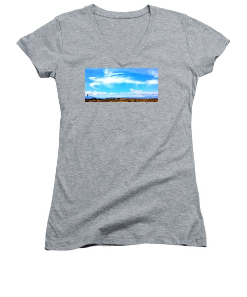 Dragon Cloud Over Suburbia Women's V-Neck
