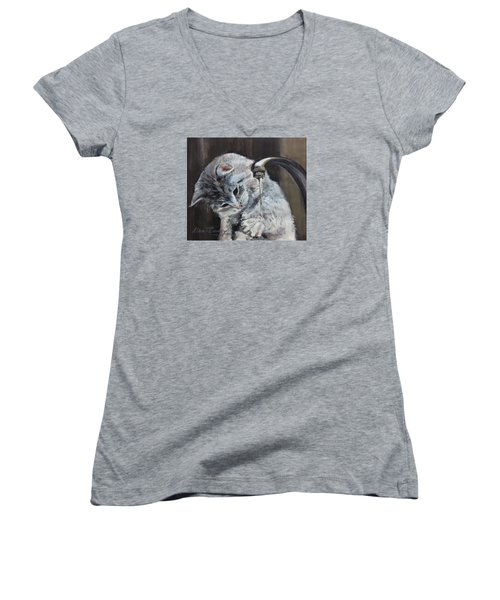 Women's V-Neck T-Shirt (Junior Cut) featuring the painting Curiosity by Stan Tenney