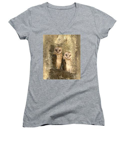 Curious Barn Owls Perched Women's V-Neck (Athletic Fit)