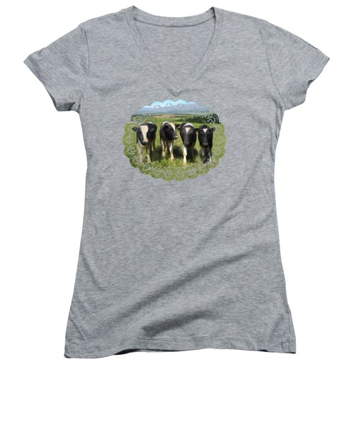 Women's V-Neck featuring the painting Curious Cows by Ivana Westin