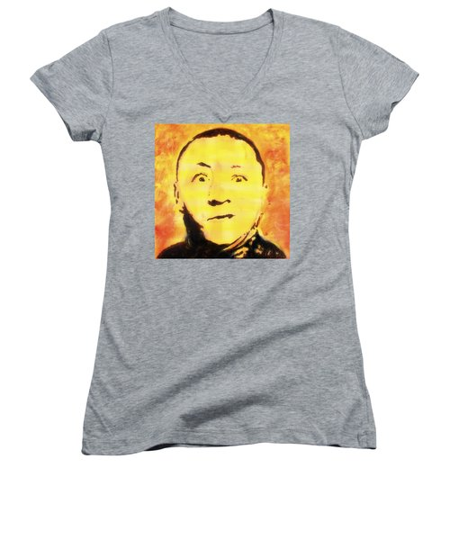 Women's V-Neck T-Shirt featuring the painting Curly Howard Three Stooges Pop Art by Bob Baker