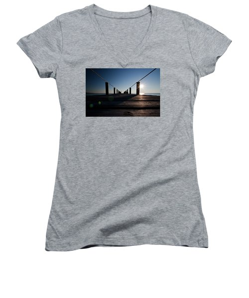 Women's V-Neck T-Shirt (Junior Cut) featuring the photograph Currituck Sunset by David Sutton