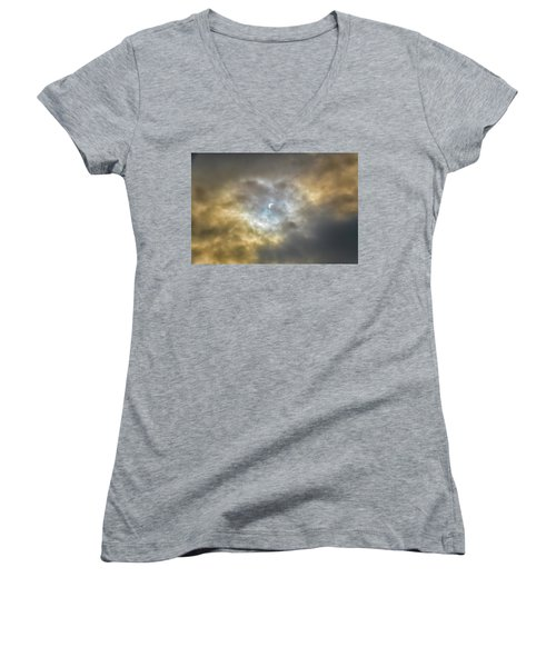 Curtain Of Clouds Eclipse Women's V-Neck