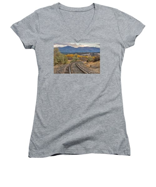 Women's V-Neck T-Shirt (Junior Cut) featuring the photograph Curve In The Tracks In Autumn by Sue Smith