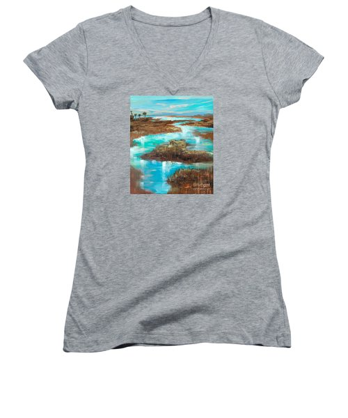 Women's V-Neck T-Shirt (Junior Cut) featuring the painting A Few Palms by Linda Olsen