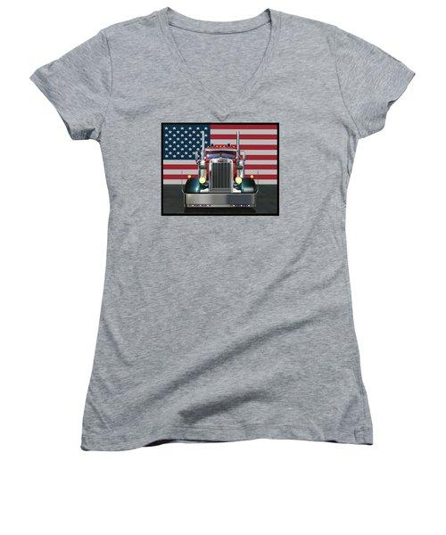 Custom Peterbilt 2 Women's V-Neck T-Shirt