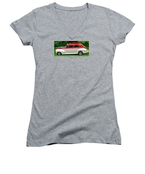 Customized Forty One Chevy Hot Rod Women's V-Neck T-Shirt (Junior Cut) by Marsha Heiken