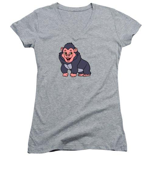 Cute Ape Women's V-Neck T-Shirt