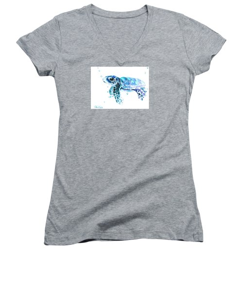 Cute Baby Turtle Women's V-Neck T-Shirt (Junior Cut) by Suren Nersisyan