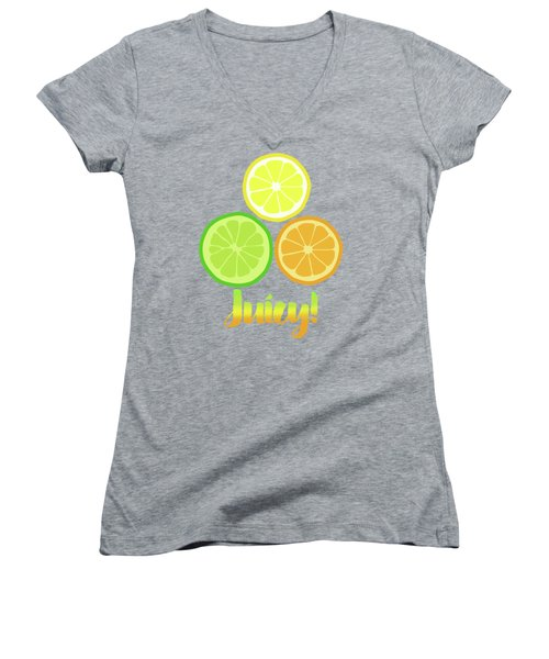 Cute Juicy Orange Lime Lemon Citrus Fun Art Women's V-Neck T-Shirt (Junior Cut) by Tina Lavoie