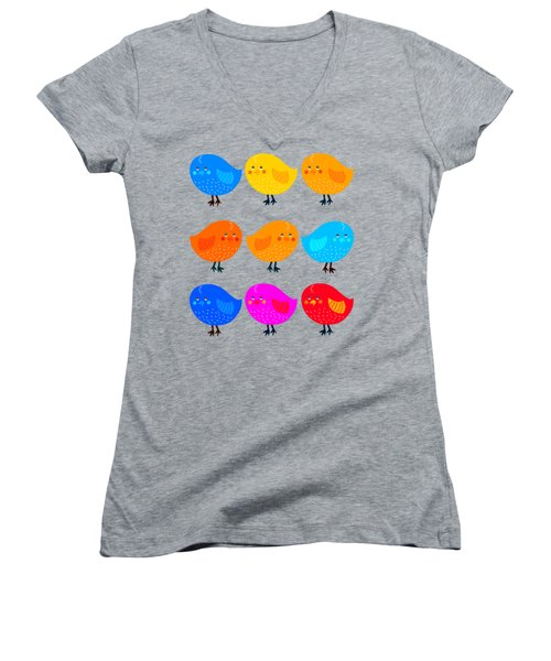 Women's V-Neck T-Shirt (Junior Cut) featuring the digital art Cute Little Birdies Tee by Edward Fielding