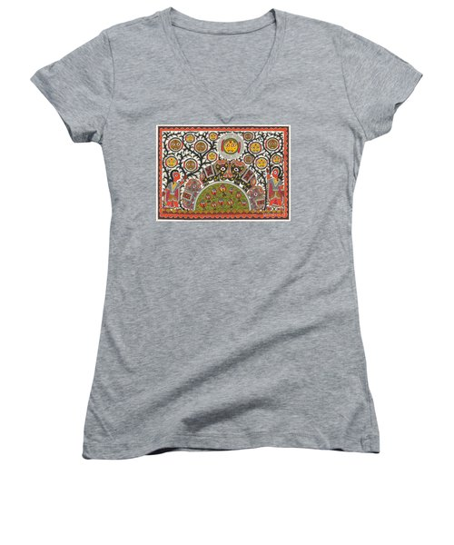 Cute Monsters In Jungle Women's V-Neck (Athletic Fit)