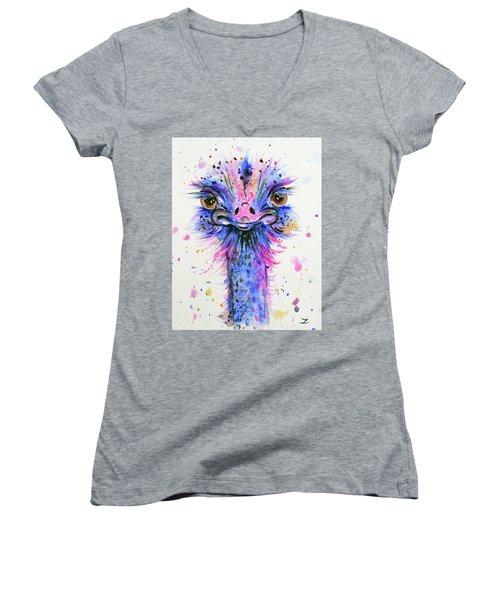 Cute Ostrich Women's V-Neck T-Shirt (Junior Cut) by Zaira Dzhaubaeva
