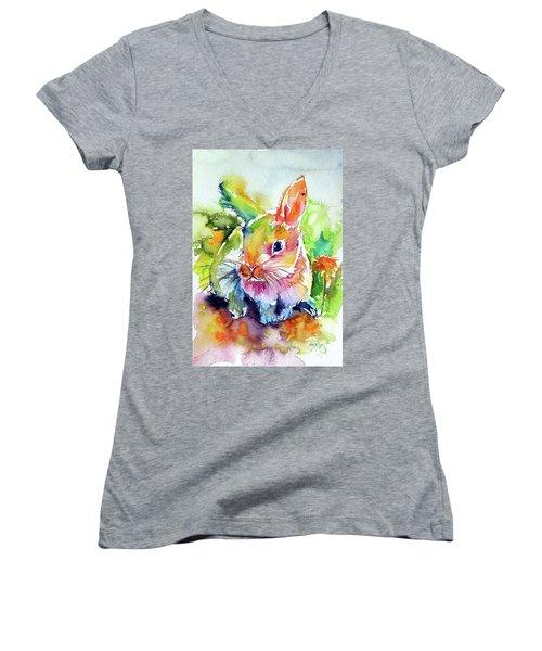 Women's V-Neck T-Shirt (Junior Cut) featuring the painting Cute Rabbit by Kovacs Anna Brigitta