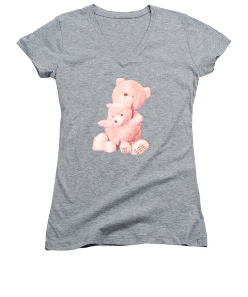 Women's V-Neck T-Shirt (Junior Cut) featuring the photograph Cutout Hugging Bears by Linda Phelps