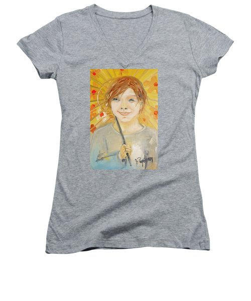 Cuz I'm Happy Women's V-Neck T-Shirt (Junior Cut) by Evelina Popilian