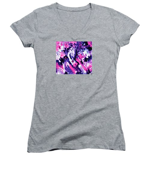 Women's V-Neck T-Shirt (Junior Cut) featuring the painting Cy Lantyca 29 by Cyryn Fyrcyd
