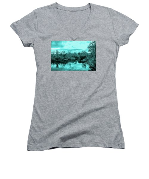 Women's V-Neck T-Shirt (Junior Cut) featuring the photograph Cyan Dreaming - Sarasota Pond by Madeline Ellis