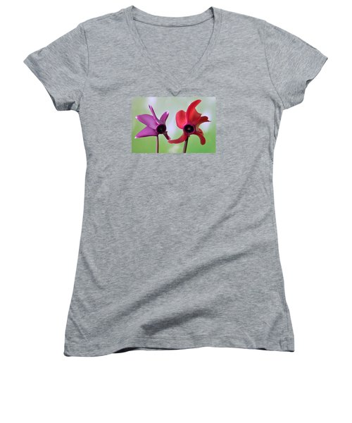 Cyclamen Duet. Women's V-Neck T-Shirt (Junior Cut) by Terence Davis