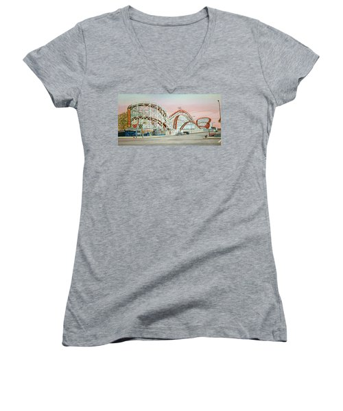 Cyclone Rollercoaster Coney Island, Ny Towel Version Women's V-Neck (Athletic Fit)