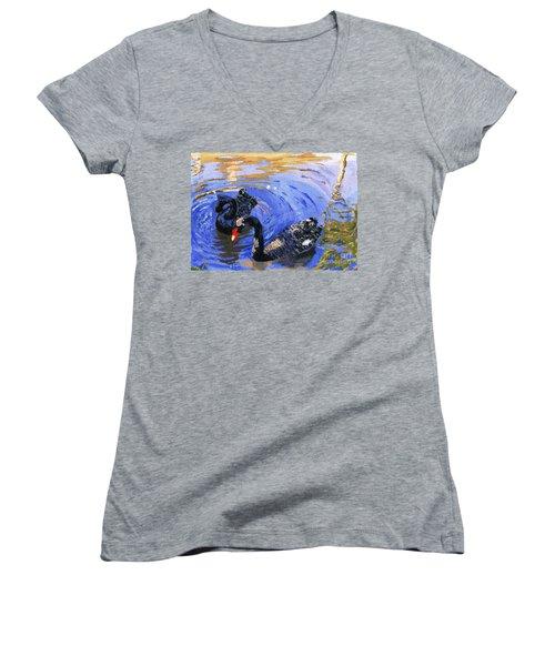 Cygnus Atratus Women's V-Neck T-Shirt (Junior Cut) by Lynne Reichhart