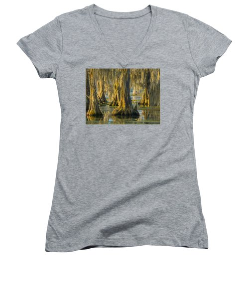 Cypress Canopy Uncovered Women's V-Neck T-Shirt (Junior Cut) by Kimo Fernandez