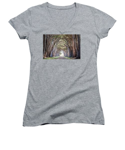 Women's V-Neck T-Shirt (Junior Cut) featuring the photograph Cypress Embrace by Everet Regal