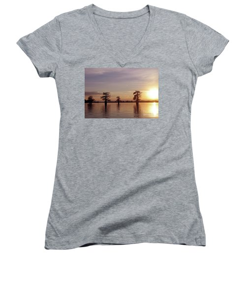 Cypress Sunset Women's V-Neck T-Shirt (Junior Cut) by Sheila Ping
