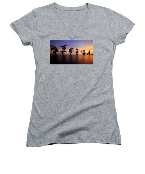 Women's V-Neck T-Shirt (Junior Cut) featuring the photograph Cypress Trees by Evgeny Vasenev