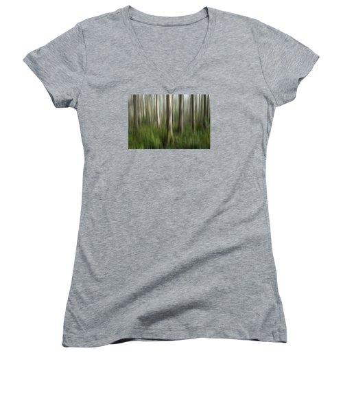 Cypress Tress Digital Abstracts Motion Blur Women's V-Neck T-Shirt (Junior Cut) by Rich Franco