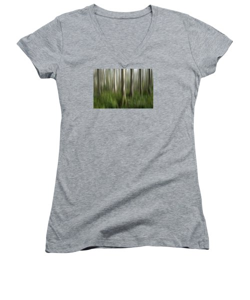 Cypress Tress Digital Abstracts Motion Blur Women's V-Neck T-Shirt