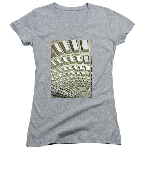 D C Metro 2 Women's V-Neck T-Shirt (Junior Cut) by Randall Weidner
